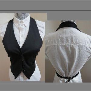 Sz M Black Halter Open Back Juniors #55E Suit Vest